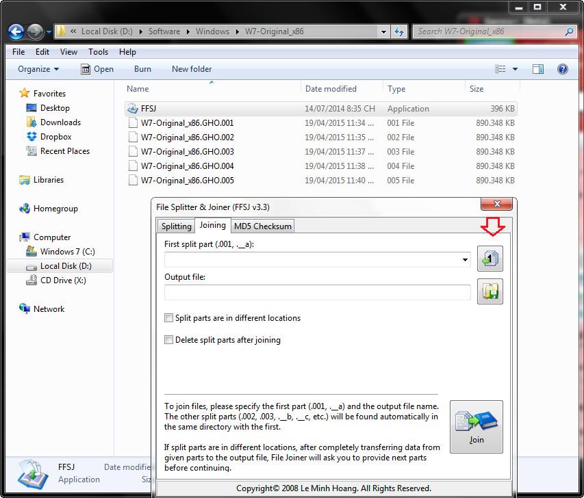 Hướng dẫn ghép file định dạng .001, .002 ,.. bằng FFSJ (1)
