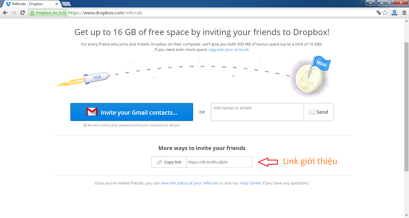 cách lấy link refer dropbox