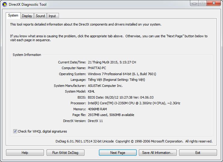 Kiểm tra CPU, RAM, Card màn hình 2